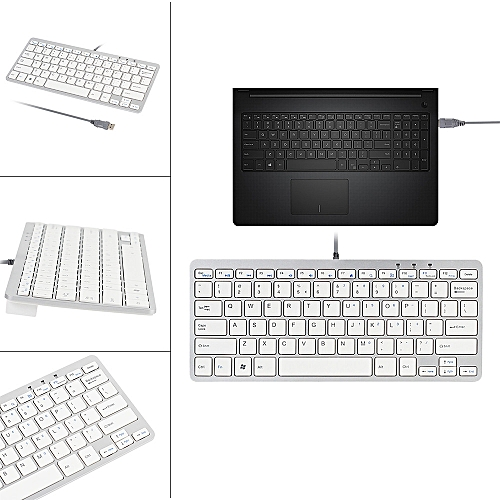 Ultra Thin Slim 78 Key Wired USB Mini PC Keyboard For PC Apple Mac Laptop WH