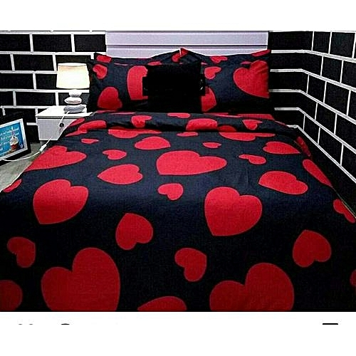 Love Patterned Pure Cotton Made Bed Sheet   Black U0026 Red