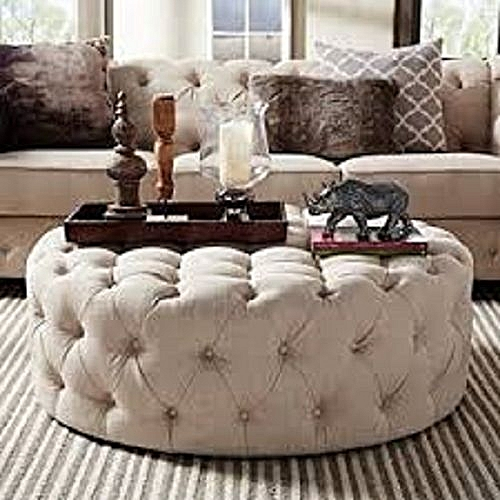 Terry Leather Tuffed Ottoman (DELIVERY IN LAGOS ONLY)