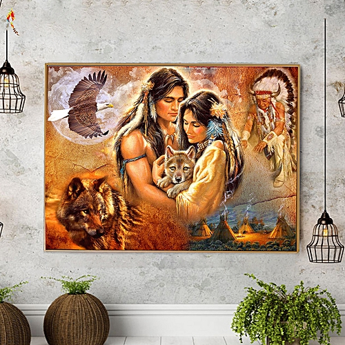 Indian Wolf Hawk 5D DIY Diamond Painting Embroidery Cross Stitch Home Decoration