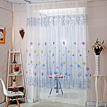 Color Lotus Sheer Voile Door Window Curtains Blue