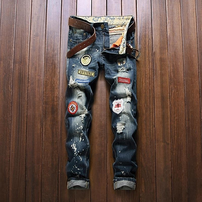 7ab640458623 Spring New Scratched Jeans Men Classic Casual Jeans Denim Trousers Male Slim  Fit Plus Size Brand