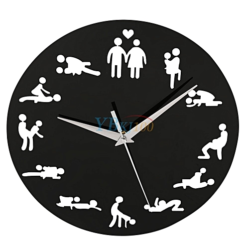 Sexual Position 24Hours Wall Clock Bedroom Decoration Black