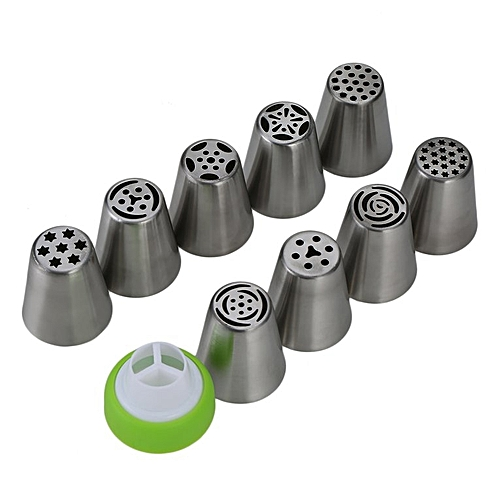 9pcs/set Russian Icing Piping Nozzle Decorating Nozzle Cake Cupcake Pastry Silver