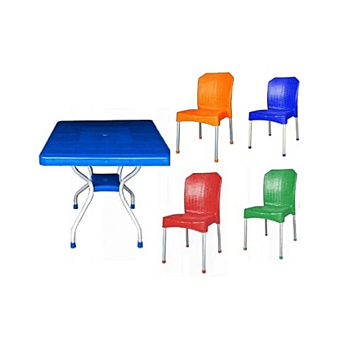 Plastic Armless Chair With Aluminum Legs & Aluminum Legs Plastic Table - Multicolour