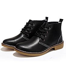 9a006ddfca0 Fashion Women Large Size Leather Lace Up Ankle Knight Martin Boots