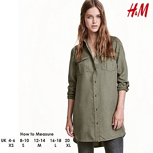 Long Dress Shirt With Pockets - Green