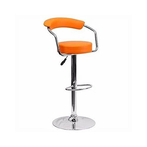 Chrome Bar Stool With Backrest - Orange