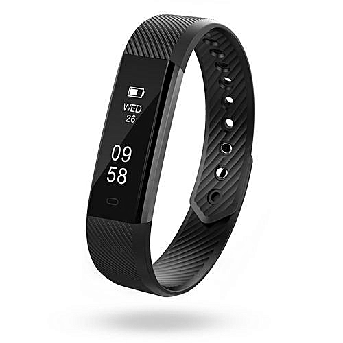 Intelligent Fitness Tracker Wristband For Android & Apple Phones - Black
