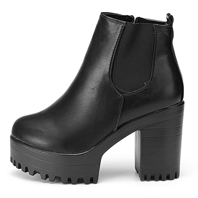e889391307 ... WOMENS LADIES CHELSEA ANKLE BOOTS CHUNKY PLATFORMS BLOCK HIGH HEELS  ZIPPER SHOES