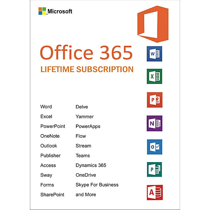 Office 365 Lifetime Account Subscription / 5 Devices / 5TB OneDrive