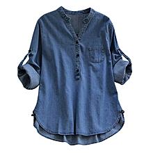 c88d0aee06679 Women Adjustable Sleeve Denim Jeans Shirts-Light Blue