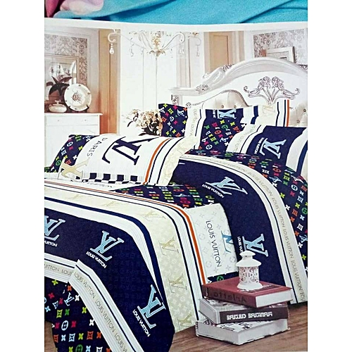 Bedsheets With Pillow Cases- Blue With Multicolored Design