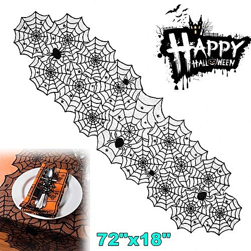 Halloween Table Runner Black Lace Spooky Topper Spiderweb Party Table Decoration