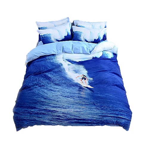 3D Surfing Bedding Set Ocean Duvet Cover Set 3 Piece Bedding Set(2Pcs Pillowcase+1Pc Duvet Cover)