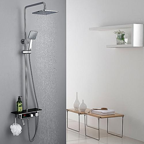 KCASA KC-S07 LED Bathroom Wall Mounted Thermostatic Rain Shower Mixer Set Luxury Rain Shower Faucet