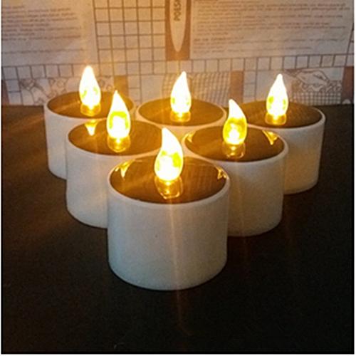 6*Pcs LED Tea Light Tealight Candle Candles Flashing Wedding Warm Solar Light