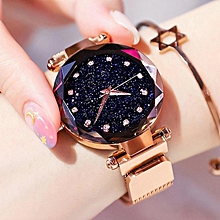 fe985b52c Luxury Rose Gold Women Watches Starry Sky Magnetic Female Wristwatch  Waterproof Rhinestone Clock