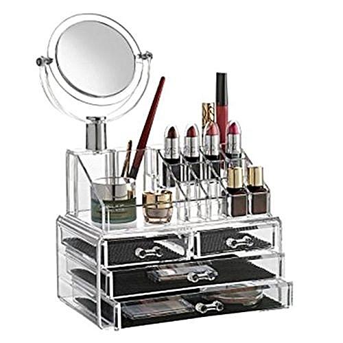 Acrylic Makeup Organizer + Removable Mirror - 4 Drawers
