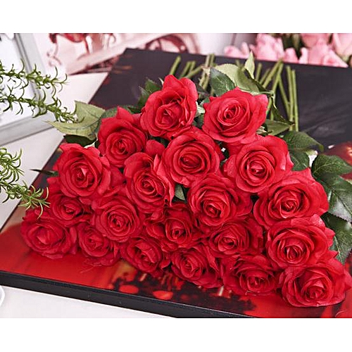Rose Artificial Flower Single Branch For Home Decoration Wedding Moistening Silk Roses
