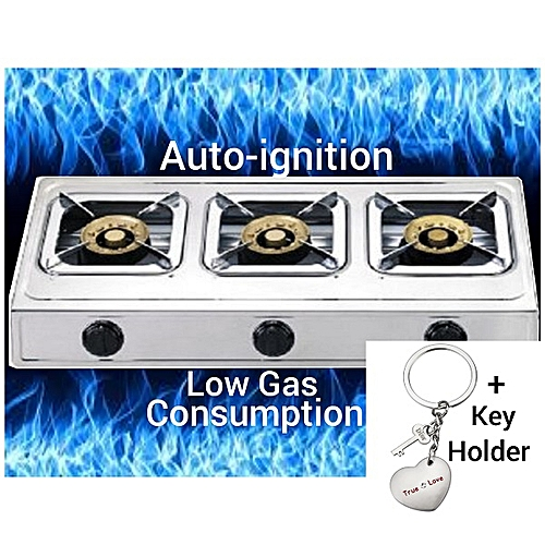 Automatic Ignition 3 Burner Table Top Gas Cooker With Stainless Steel Top