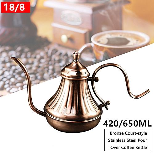 Retro Pour Over Coffee Kettle Hand Drip Pot Gooseneck Bronze