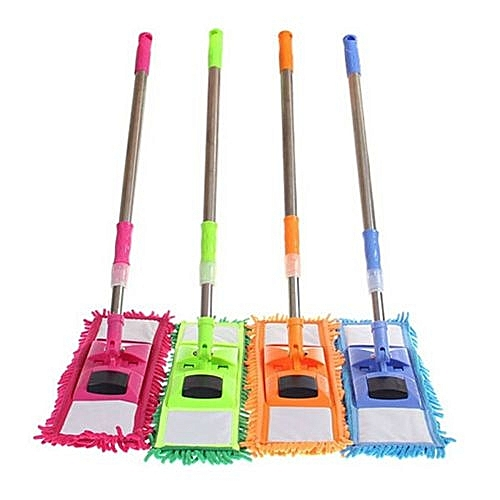 Magic Microfiber Noodle Dust Mop Telescoping Pole Floor Easy Clean Rotating Head