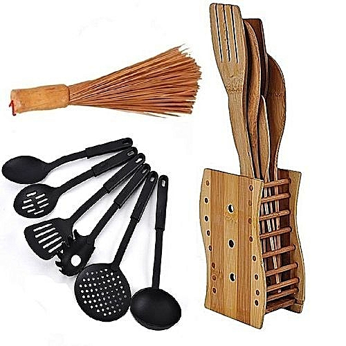Bamboo Wooden Spoons Set + Big Wooden Ewedu/Draw Meshing Broom + Single Colour Non-stick Cooking Spoons Set