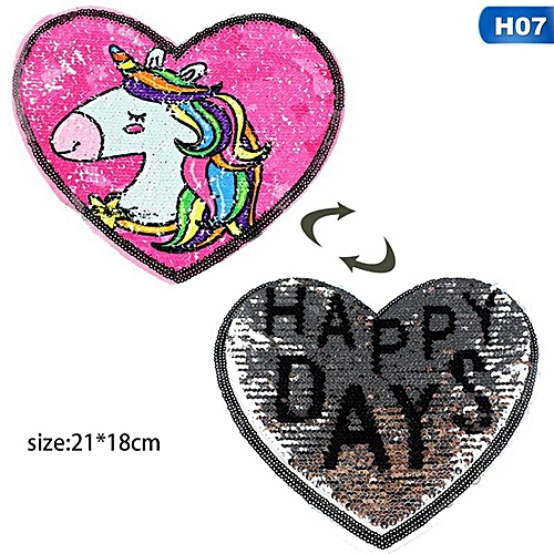Eleganya Cartoon Sequins Unicorn Pattern Heart Shaped Cloth Sticker For Children Clothes Accessories