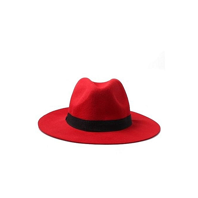 c5aac0920aa2b Fashion Brim Wool Fedora Hat - Red
