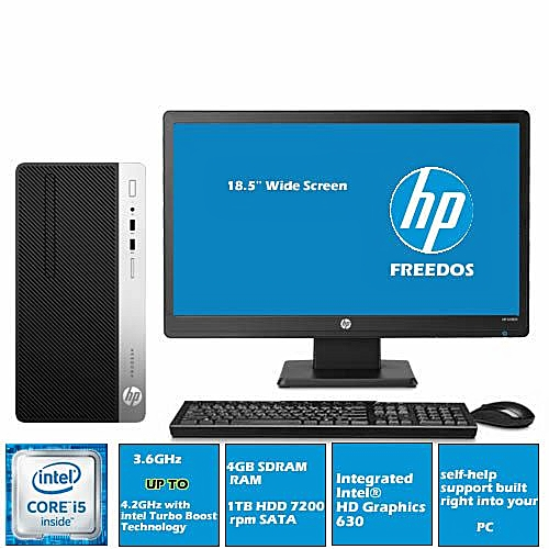 Prodesk 400 G4 Microtower Intel Core-i5 4GB/1TB HDD+18.5'' Monitor( FREEDOS)