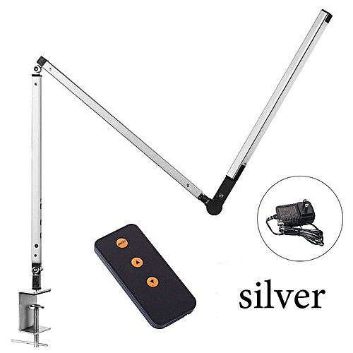 New LED Desk Lamp,Architect 8W Highly Office Table Lamp Metal Swing Long Arm Dimmable Clip On Table Lighting 3 Level Brightness(Silver)