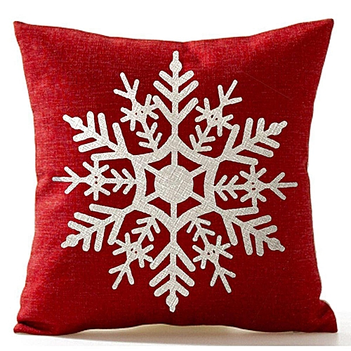 Snowflake In Red Merry Christmas Throw Pillow Case Cushion Cover Q9B2