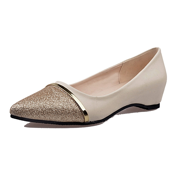 d109ee7e5c94 Blicool Shoes Ladies Women s Shoes Fashion Pointed Toe Casual Shoes Low  Heel Flat Shoes Beige
