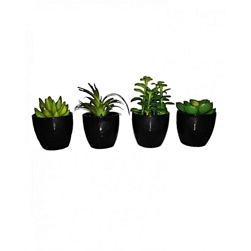Pack of 4 Baby Artificial Plants in Acrylic base 12cm