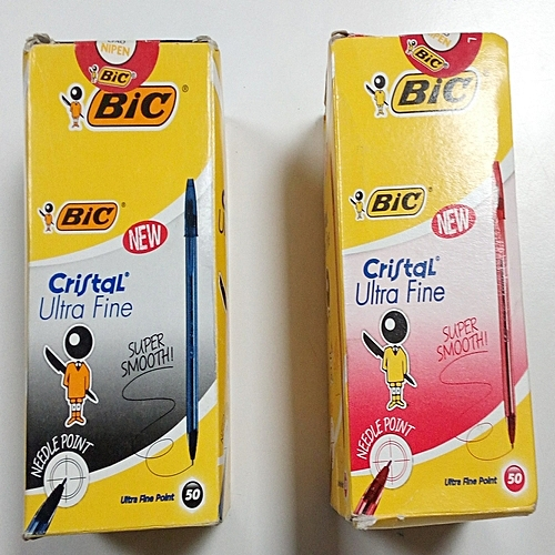 """50 Black + 50 Red - Bic Cristal Pen - """"High Quality Print"""""""