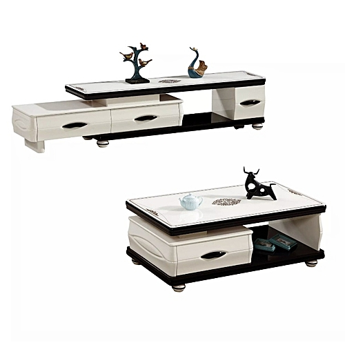 Set Of Tempered Glass Top Modern Adjustable Television Stand/console And Centre Table (Delivery Within Lagos Only)
