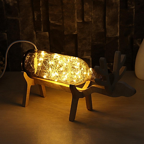 LED Glass Fairy Elk Light Jar Night Light Table Lamp Christmas Home Decor Gift