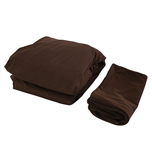 Home-2pcs Suede Furniture Slipcover Sofa Loveseat Couch Cover Thicker+Pillowcase*Coffee