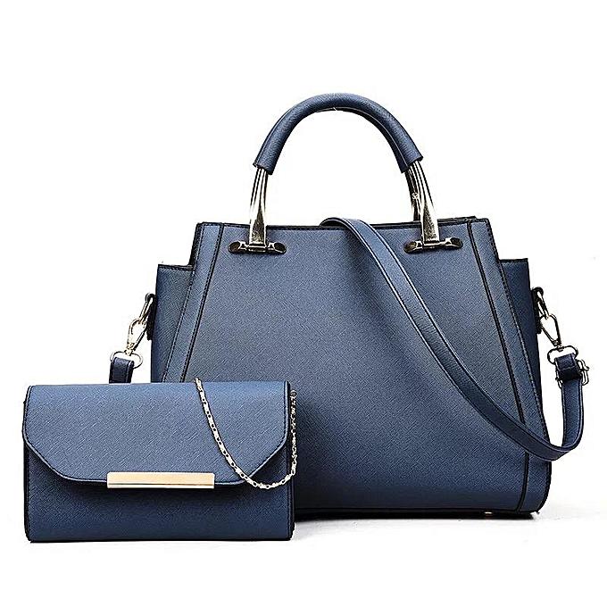 e2d46783a48d 2 Pcs Set Handbags Long Purse Shoulder Bag Platinum Top-handle Women Bag  Lock