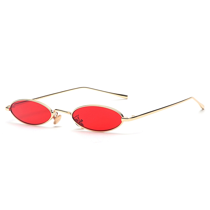 3abb5c384f38 Small Oval Sunglasses For Men Retro Metal Frame Vintage Small Round Sun Glasses  For Women Red
