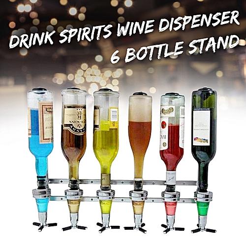 6 Bottle Wine Liquor Dispenser Wall Mounted Stand Drinks Beer Alcohol Bar Butler