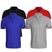 81c89ec5f 4 In 1 Quality Men's Plain Short Sleeve Polo T-Shirts