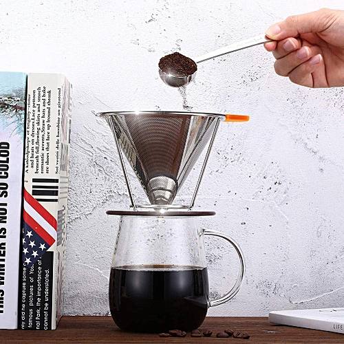 Stainless Steel Reusable Coffee Dripper Filter Coffee Cone With Mesh