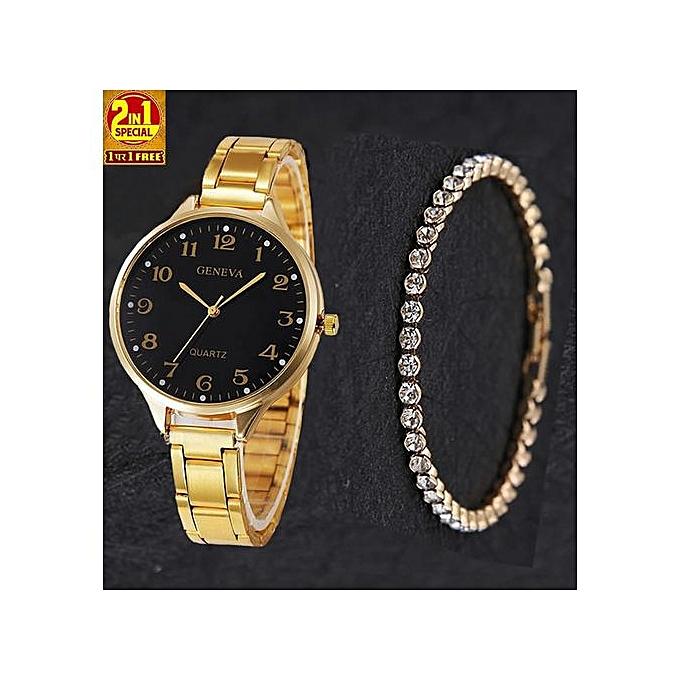 Geneva 2-In-1 Trendy Watch With Studded Bracelet