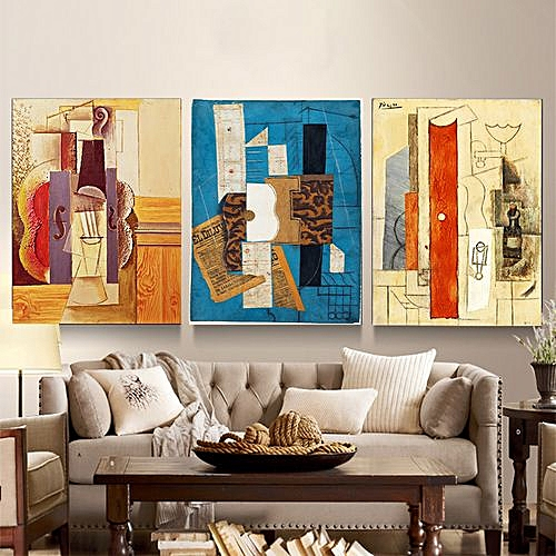 Abstract Frameless Triple Decorative Painting 12 X 16 Inch-