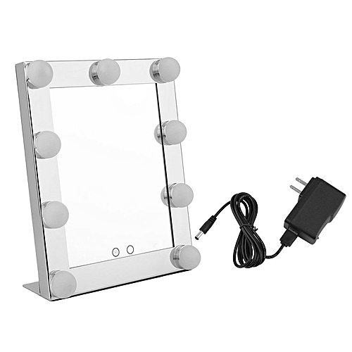 Portable 9 LEDs Bulb Vanity Lighted Makeup Mirror Dimmer Beauty Mirror Silver