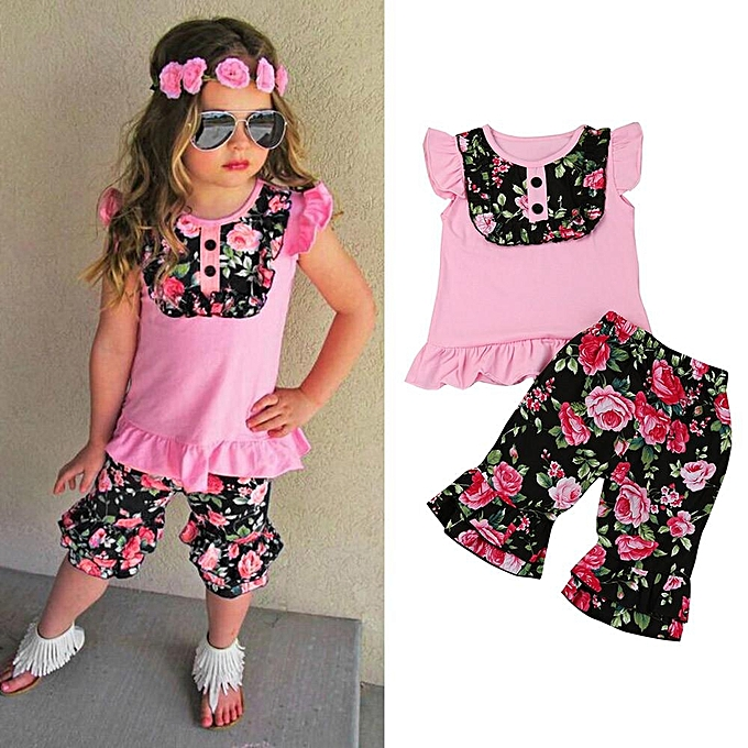64d73c4e Toddler Kids Baby Girl Floral T Shirt Tops Pants Sport Pants Outfits  Clothes 2pcs Set Suit