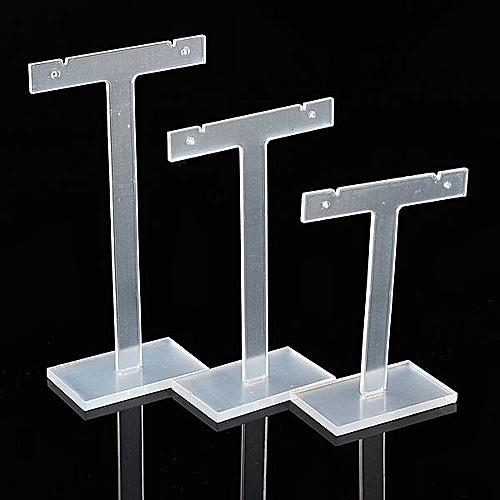 3x T-Bar Earrings Stand Jewelry Display Holder Rack Acrylic Clear Black Showcase