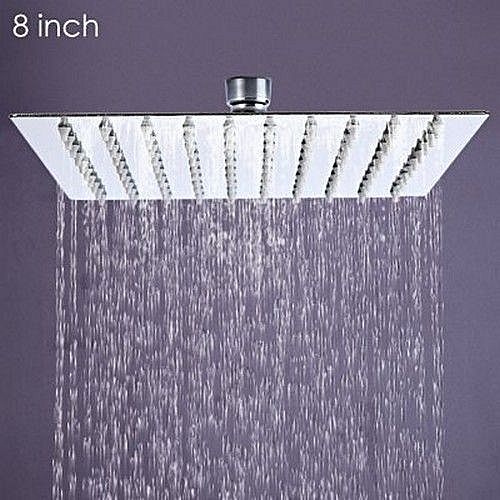 8 Inch High Pressure Ultra Thin 201 Stainless Steel Square Rain Shower Head (SILVER)